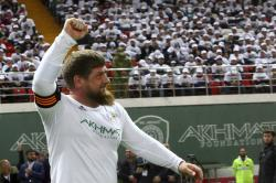 Chechnya's regional leader Ramzan Kadyrov celebrates scoring against the Italian former players soccer team in Grozny, Russia.