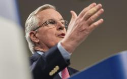 European Union chief Brexit negotiator Michel Barnier addresses the media on Brexit at EU headquarters in Brussels on Friday Feb. 9, 2018