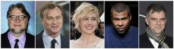 """Nominated directors, from left, Guillermo del Toro for """"The Shape of Water,"""" Christopher Nolan for """"Dunkirk,"""" Greta Gerwig for """"Lady Bird,"""" Jordan Peele for """"Get Out,"""" and Paul Thomas Anderson for """"Phantom Thread."""""""