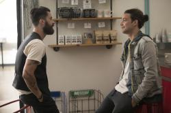 "Andy Bean, left, and Daniel Zovatto in a scene from ""Here and Now."""
