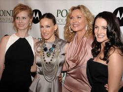 In this April 7, 2008 file photo, from left, Cynthia Nixon, Sarah Jessica Parker, Kim Cattrall and Kristin Davis arrive at the 2008 Point Foundation Benefit in New York.