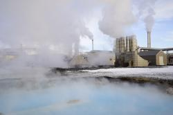 In this photo taken on Jan. 18, 2018, large clouds of steam rise into the sky from the Svartsengi geothermal power station in Grindavík, Iceland