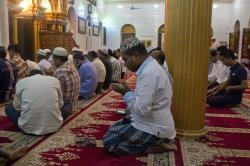 In this Jan. 29, 2018, photo, Myanmar Muslim men pray at a mosque in Yangon, Myanmar