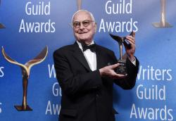 "James Ivory, co-writer of the film ""Call Me By Your Name,"" poses with his Outstanding Adapted Screenplay award backstage at the 2018 Writers Guild Awards."