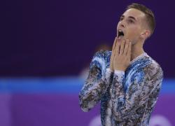 Adam Rippon of the United States reacts after his performance in the men's single skating free skating in the Gangneung Ice Arena at the 2018 Winter Olympics.