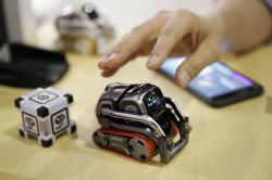In this Jan. 10, 2018, file photo, Anki Cozmo coding robot is on display at CES International in Las Vegas