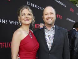 "Joan Marie and Author Jay Asher appear at the Netflix ""13 Reasons Why"" premiere in Los Angeles."