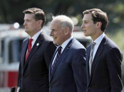 n this Aug. 4, 2017 file photo, from left, White House Staff Secretary Rob Porter, White House Chief of Staff John Kelly, and White House senior adviser Jared Kushner.