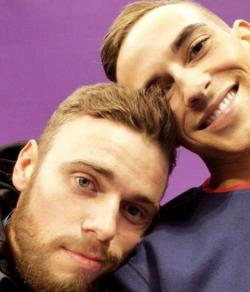 Gus Kenworthy, left, with Adam Rippon, right