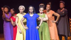 Tonasia Jones, Kerline Desir, Dayenne C. Byron Walters, Ciera-Sadé Wade, Thomika Birdwell, Karimah Williams, and Verna Hampton in Praxis Stage's production of 'for colored girls who have considered suicide / when the rainbow is enuf'