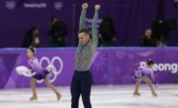 Adam Rippon of the United States reacts following his performance in the men's free figure skating final in the Gangneung Ice Arena at the 2018 Winter Olympics