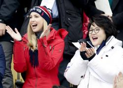 Ivanka Trump, left, cheers with Kim Jung-sook, wife of the South Korean President.