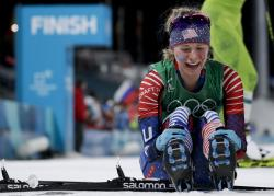 Jessica Diggins, of the United States, celebrates after winning the gold medal in the during women's team sprint freestyle cross-country skiing final at the 2018 Winter Olympics in Pyeongchang, South Korea, Wednesday, Feb. 21, 201