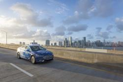 This undated image provided by Ford Motor Company shows a self-driving vehicle from Ford and Ford partner Argo Al in Miami, Fla.