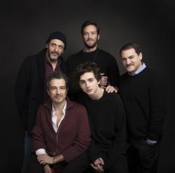 Director Luca Guadagnino, clockwise from left, actor Armie Hammer, actor Michael Stuhlbarg, actor Timothee Chalamet and editor Walter Fasano.