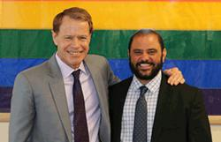 Santa Clara County Supervisor Ken Yeager, left, with Anthony Ross, the county's new transgender program manager at the Office of LGBTQ Affairs