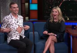 "Adam Rippon with Reese Witherspoon on ""The Late Show."""