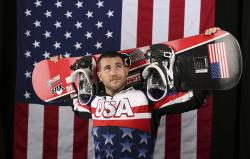 In this Sept. 27, 2017, file photo, U.S. Olympic Winter Games paralympic snowboarding hopeful Mike Schultz poses for a portrait at the 2017 Team USA media summit in Park City, Utah