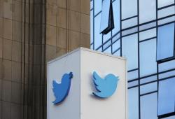 This Oct. 26, 2016 file photo shows a Twitter sign outside of the company's headquarters in San Francisco
