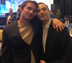 Sam Greisman, left, with Adam Rippon, right.