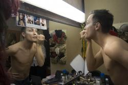 Performer Andrei applies make-up before a Saturday night drag show at a gay club in Yekaterinburg, Russia.