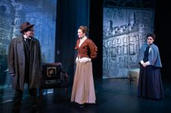 "Shelley Bolman, Marge Dunn and Brittany Rolfs in ""Miss Holmes"" at the Greater Boston Stage Company through April 22."
