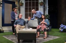 "Anne Scurria, Timothy Crowe. Daniel Duque-Estrada and Maria Gabriela Rosado Gonzalez in ""Native Gardens"" at the Trinity Rep through May 6."