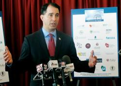 In this Jan. 30, 2018, file photo, Wisconsin Gov. Scott Walker speaks in Madison, Wis.
