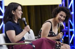 "Abbi Jacobson, left, and Ilana Glazer of the series ""Broad City"" speak at the Television Critics Association."