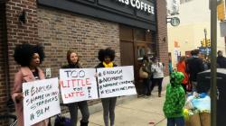 Protesters outside a Philadelphia Starbucks on Sunday, April 15, 2018.