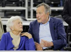 In this March 29, 2015, file photo, former President George H.W. Bush and his wife Barbara Bush, left.