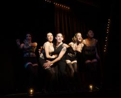 "Kimberly Fife, Katrina Pavao, Phil Tayler, Joy Clark and Caroline Workman in Moonbox Productions' ""Cabaret."" Photographer: Sharman Altshuler"