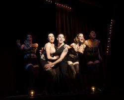 "Kimberly Fife, Katrina Pavao, Phil Tayler, Joy Clark and Caroline Workman in Moonbox Productions' ""Cabaret."" Photographer: Sharman Altshuler"