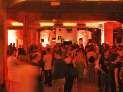 Guests attend the opening of the 'Pop-Kultur' festival in the Berghain club in Berlin.