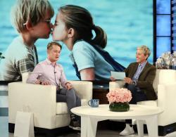 "Macaulay Culkin, left, appears with host Ellen DeGeneres at a taping of ""The Ellen DeGeneres Show"" in Burbank, Calif."
