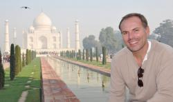 John DiScala, better known as the air travel expert Johnny Jet, at the Taj Mahal in Agra, India.