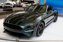 This Feb. 15, 2018, file photos shows a 2019 Ford Mustang Bullitt on display at the Pittsburgh Auto Show