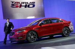 This April 20, 2011, file photo shows Mark Fields, executive vice president, Ford Motor Company, introducing the 2013 Ford Taurus SHO at the New York International Auto Show