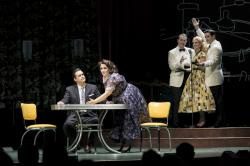 "Marcus DeLoach, Heather Johnson, Neal Ferreira, Mara Bonde and Vincent Turregano in Boston Lyric Opera's ""Trouble In Tahiti/Arias And Barcarolles,"" playing thru May 20."