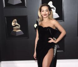 Rita Ora attends the 60th annual Grammy Awards.