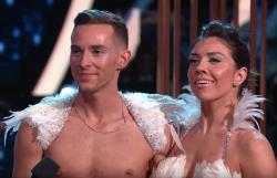 "Adam Rippon with Jenna Johnson on ""Dancing with the Stars."""