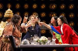 "Sophia Ramos, Carmen M. Herlihy, Paula Plum, Vanessa Kai, and Carmen Zilles in ""Top Girls"" at the Huntington Theatre Company through May 20."