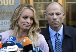 Adult film actress Stormy Daniels, whose given name is Stephanie Clifford, and her attorney Michael Avenatti