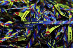 Bracelets decorated with the rainbow colors are displayed at a restaurant during the launch event of Beirut Pride week in Beirut, Lebanon.