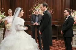 """From left, Kaley Cuoco, Mayim Bialik, Mark Hamill, Jim Parsons and Johnny Galecki in a scene from """"The Big Bang Theory."""""""