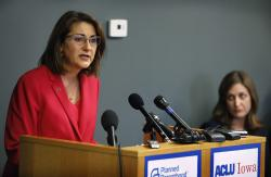 Planned Parenthood of the Heartland President and CEO Suzanna de Baca speaks during a news conference, Tuesday, May 15, 2018, in Des Moines, Iowa