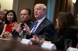 President Donald Trump speaks during a roundtable on immigration policy in California in the Cabinet Room of the White House, Wednesday, May 16, 2018, in Washington