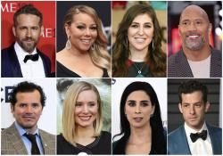 Top row from left, Ryan Reynolds, Mariah Carey, Mayim Bialik and Dwayne Johnson, and bottom row from left, John Leguizamo, Kristen Bell, Sarah Silverman and Mark Ronson.