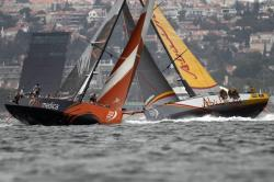 In this June 7, 2015, file photo, Team Alvimedica, left, crosses Abu Dhabi Ocean Racing as they sail during the Leg 8 course race from Lisbon, Portugal, to Lorient, France, during the Volvo Ocean Race, in Oeiras, outside Lisbon
