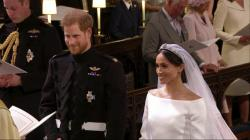 Britain's Prince Harry and Meghan Markle stand during their wedding ceremony at St. George's Chapel in Windsor Castle in Windsor.